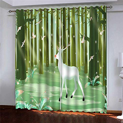 CLYDX Kids Blackout Curtains for Bedroom 3D Printed Thermal Insulated Curtains Eyelet Blackout Curtains for Bedroom 2 * W43 x L84 - Fawn forest