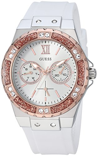 GUESS Women's Stainless Steel Silicone Crystal Accented Watch, Color: White/Silver/Rose Gold-Tone (Model: U1053L2)