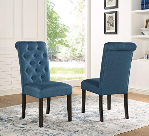 Roundhill Furniture Aneta Solid Wood Tufted Parsons Dining Chairs, Set of 2, Blue
