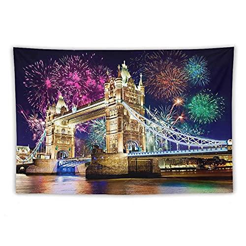 Tapiz de pared con puente de Londres para colgar en la pared, decoración del hogar, manteles extragrandes, para dormitorio, sala de estar, dormitorio de 152 x 220 cm