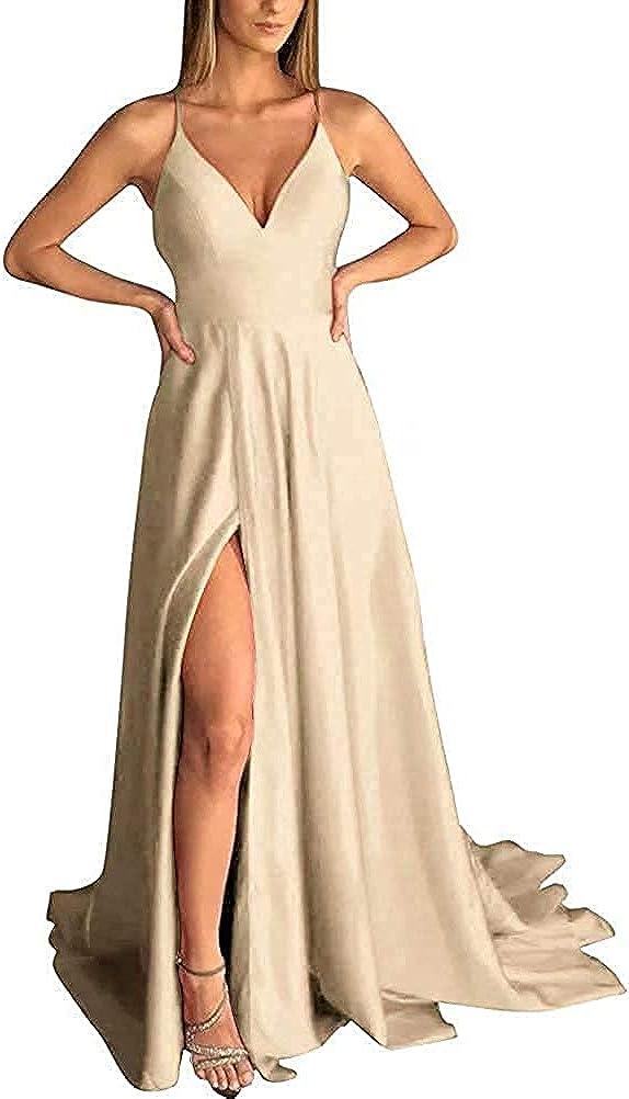 LINDO NOIVA Women V-Neck Bridesmaid Dresses for Women Long Simple A-Line Formal Dresses with Slit LNL037
