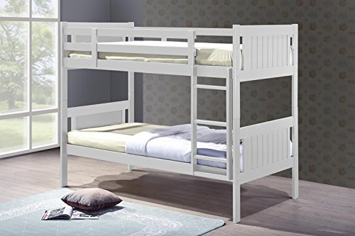 Humza Amani Glory New Milan White 3FT Single Wooden Bunk Bed With Economy Coil Sprung Mattress