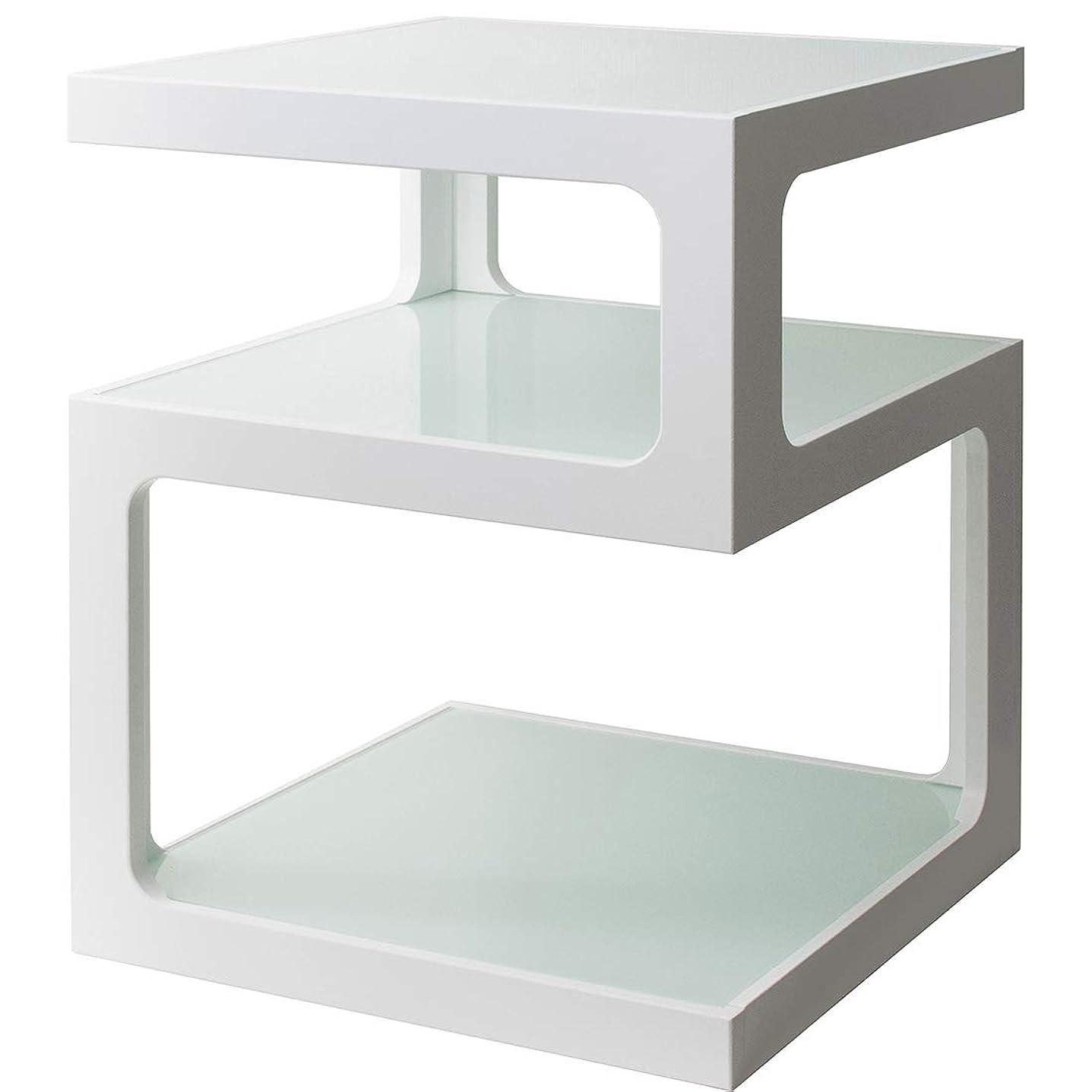 不可能な確かな改革宮武製作所 サイドテーブル 3段 ガラス天板 ホワイト 幅40×奥行き40×高さ52.5cm ST-403 WH