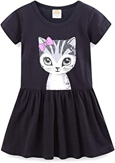 LittleSpring Little Girls Dresses Summer Cat Print