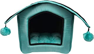 Hiputee Foldable Waterproof Washable 2 in 1 Pet Hut/House Toy Dogs and Cats (Small, Blue-Black)
