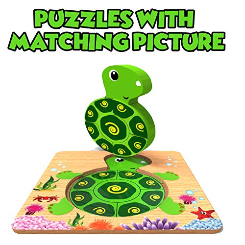 Jigsaw Puzzles for Toddlers Babies with Matching Picture Underneath Educational Toys for Boys and Girls Ages 1 2 3 Year Old Montessori Preschool Learning Toys Gifts for Kids Toddlers Babies