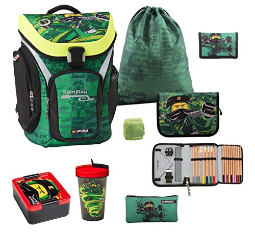 Familando Lego Ninjago Explorer - Juego de mochila escolar (8 piezas, incluye estuche, lata para almuerzo, botella de hidratación y protector de lluvia) ⭐