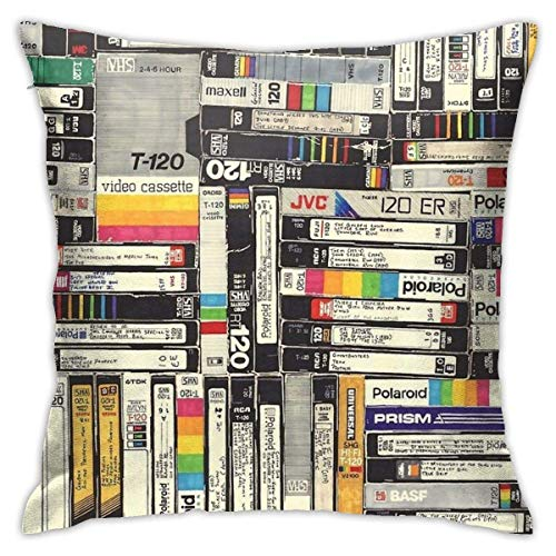 N/Q 45X45cm Throw Pillowcase,Vintage Long Time Tape Music Disc Square Outdoor Pillowcase Sofa Cover Decorative Cushion Cover, Soft, Used for Car Bed Living Room