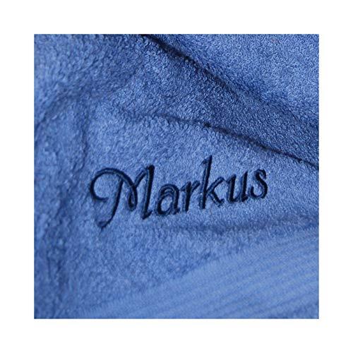 KringsFashion Premium Duschtuch 70 x 140 cm - Namen nach Wunsch auswählbar - Hochwertig bestricktes Handtuch - 100% Baumwolle - Einzigartiges Design - Fjord - Schriftfarbe Blau