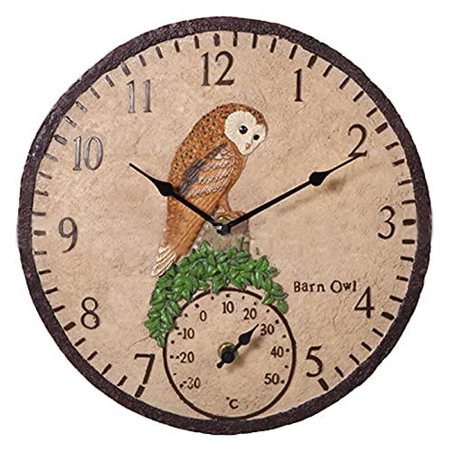 Gartenuhr Wetterfest Outdoor 30cm Vöglein Outdoor Uhr Garten, Retro Harz Garten wanduhr mit Thermometer, für innen und außen Garten Mute gartenuhren Dekoration, Batteriebetriebene (Owl)