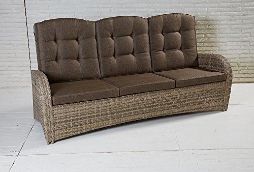 La Casa di Caesar 3-Sitzer Living Sofa Turin Natur Geflecht Polyrattan Gartensofa