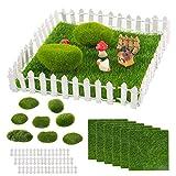 24pcs Miniature Fairy Garden Ornaments- 6 Sheets 6' × 6' Artificial Garden Grass+ 8pcs Simulation Moss Stones+ 10pcs 4' White Wood Picket Fence DIY Crafting Supplies for Dollhouse Home Garden Decors