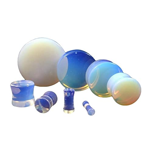 Inspiration Dezigns Pair of Argenon Opalite Stone Solid Saddle Fit Plugs