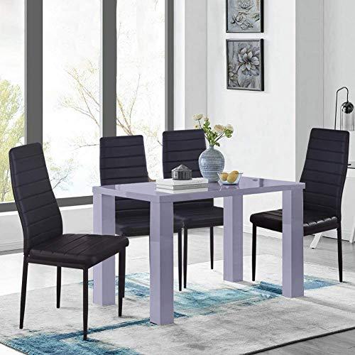 Conjunto de silla de mesa con mesa 4 Mesa de cocina rectangular contemporánea y silla de cuero artificial Silla de restaurante gris,Grey Black