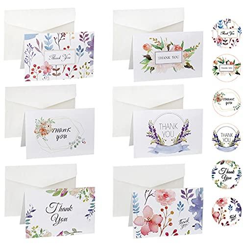 Runmeihe Juego de 24 tarjetas de agradecimiento con sobres y pegatinas, perfectas...