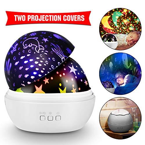KKTICK Stelle Lampada, Proiettore Stelle Luce Notturna per Bambini con 4 Colori Lampadine LED 3 Offrire 8 Combinazioni Diverse Cosmos Stella lampada Ruotabile Proiettore Luci per Regali-bianco