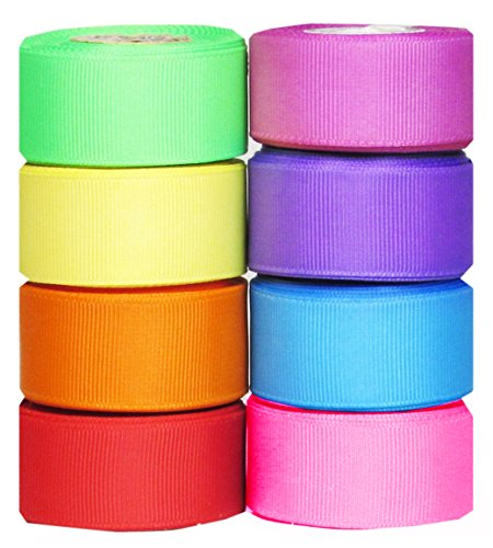 """Q-YO Grosgrain/Satin Ribbon Combo for Crafts Gift Package Wrapping, Hair Bow Clips & Accessories Making, Sewing, Wedding Decor (40yd(8x5yd) 7/8"""" Grosgrain Ribbon--Bright)"""