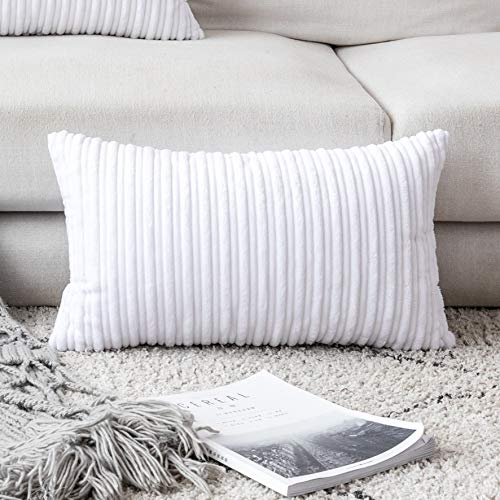 """UGASA Velvet Pillow Covers Striped, Decorative Throw Cushion Case with Hidden Zipper for Home Couch/Bedroom/Car, Soft Cozy Solid Oblong, 1 Pack (12""""x20"""", Pure White)"""