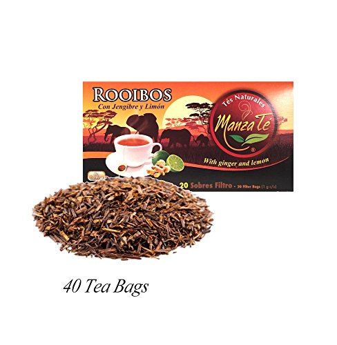 ManzaTe Rooibos With Ginger and Lemon, 40 Tea Bags, from Costa Rica
