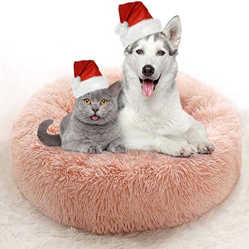 VASIN Cuccia per Gatti Letto per Cani Gatto Rotondo Gatti Donut Letto Peluche Ultra-Morbido da Interno Animale Domestico Cuccia pelosa, 40CM Rosa