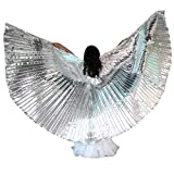 Belly Dance Isis Wings for Kid Girl, Butterfly Shawl Fairy Ladies Cape Nymph Pixie Costume Angel Wings with Telescopic Sticks for Halloween Carnival Performance Clothing (Silver)