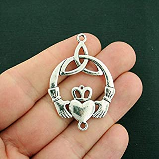 2 Claddagh Connector Charms Antique Silver Tone 2 Sided Celtic Knot DIY Crafting by Wholesale Charms