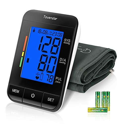 Tovendor Blood Pressure Monitor Upper Arm, Accurate Automatic Digital BP Monitor with Adjustable 8.7-16.5 Inch Cuff, LCD Backlit Screen, 2*90 Sets Memory BP Machine for Home Use