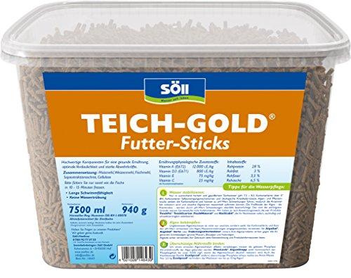 Söll 14643 TeichGold Futter-Sticks – Alleinfuttermittel für alle Teichfische – schwimmfähige Teichsticks – 7,5 l - 4