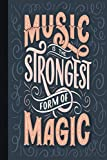 Music is Magic: Gag Gift for People Who Loves Music   Lined Notebook for Writing   Pages Decorated with Silhouettes of Musical Devices   Use for Notes or as A Journal   Greeting Cards Alternative