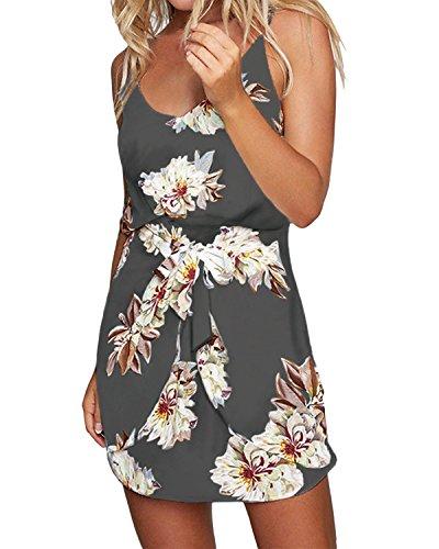 ACHIOOWA Sommerkleid Damen Ärmellos Strandkleid Chiffon V-Ausschnitt Blumen Casual Sexy Mini Trägerkleid Grau XL
