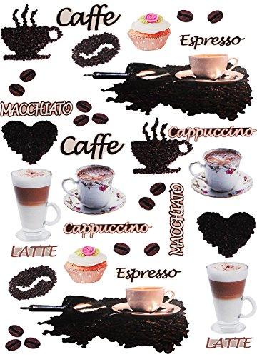 alles-meine.de GmbH 38 TLG. Set _ XL Wandtattoo / Sticker -  Kaffee / Espresso - Latte & Cappuccino  - Wandsticker - Aufkleber für Kinderzimmer - selbstklebend + wiederverwendb..