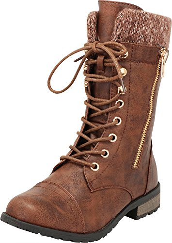 Cambridge Select Women's Round Toe Military Lace Up Knit Sweater Combat Boots,6.5 B(M) US,Brown Pu