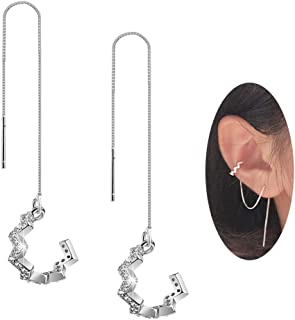 SLUYNZ 925 Sterling Silver New Arrival Wave Cuff Earrings Wrap Tassel Earrings for Women Threader Earrings Perfect Valentine's Day Gifts (platinum-plated)