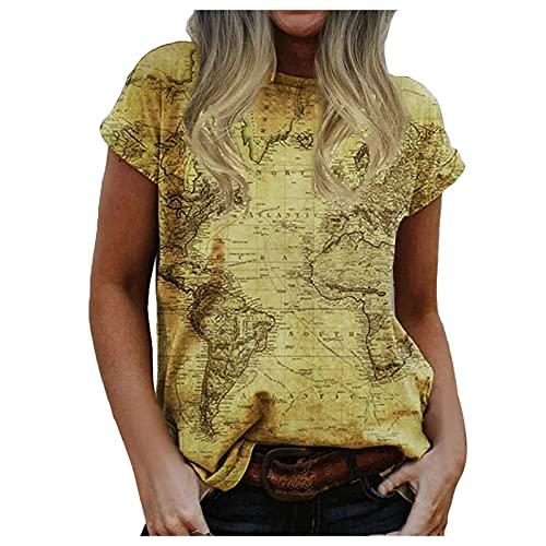 Camiseta de Manga Corta con Estampado de Mapa de Cuello Redondo Informal de Verano para Mujer Camisa con Mangas Enrolladas Y Dobladillo con Aberturas Laterales