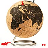 Suck UK Large Desktop Cork Push PINS Included | Educational World MAP | Travel Accessories | Adventure & Memories Display | Globe, Small, Brown/Black