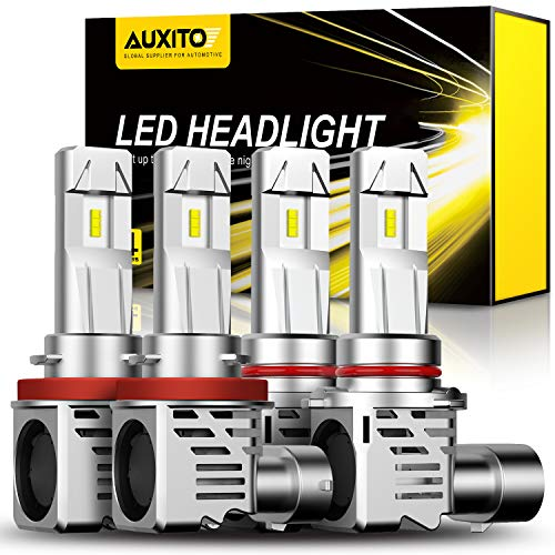 AUXITO 9005 H11 LED Headlight Bulbs Combo, 200% Brighter Than Halogen, 6500K Cool White, Wireless Headlight LED Bulbs for High Beam Low Beam Replacement, 2pcs 9005 and 2 pcs H11 Included