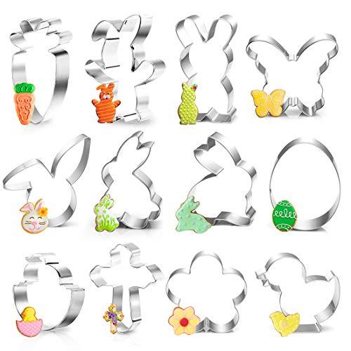 Ausstecher Ostern, 12Plätzchen Ausstechformen Ostern Set, Ostern Edelstahl Ausstechformen, Keksausstecher Ostern, Osterplätzchen für Backen, Hase, Karotte, Küken, Ei,Häschenkopf,Blume, Schmetterling