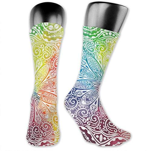 Hectwya Mode Socken Blume Mandala Design im orientalischen Stil Frauen Kniestrümpfe Polyester weich dick Komfort lässig dünn Strumpf
