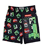 Minecraft Boys Creeper Sleep Shorts, Black, 4/5