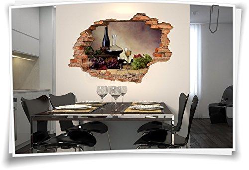 Medianlux 3D muurdoorbraak muurschildering muursticker sticker wijn karaf druiven wijnkelder