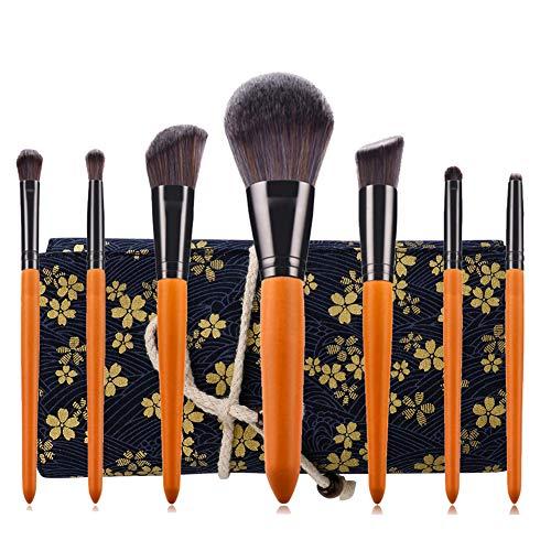 Make Up Pinsel Set, Lyeiaa Super Weich Professionelles Schminkpinsel 7pcs Foundation Blending Erröten Eyeliner Gesichtspuder Pinsel Lidschatten mit Elegant Kosmetiktasche, Holzgriff, Retro Orange