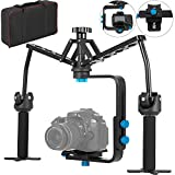 Happybuy 2 Gimbals Handheld Stabilizer Portable Handheld Mechanical Stabilizer Auto-Tuning Gimbals Stabilizer with Thumb Controller Dual Handle Video Spider Steadicam for DSLR