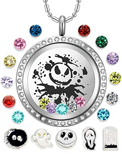 AZNECK 30mm Jack Skull Nightmare Before Christmas Floating Charms Necklaces Boys Living Memory Halloween Locket Pendant Gifts for women girls Men Birthstone Jewelry