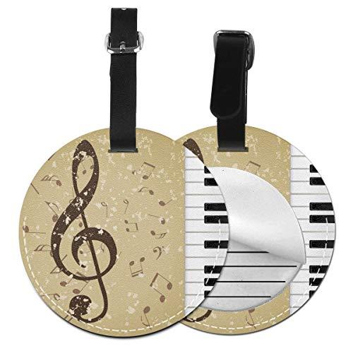 Grunge Music - Juego de etiquetas de equipaje para maleta de piel personalizada, accesorios de viaje redondos, etiquetas de equipaje Negro Negro  2 PC