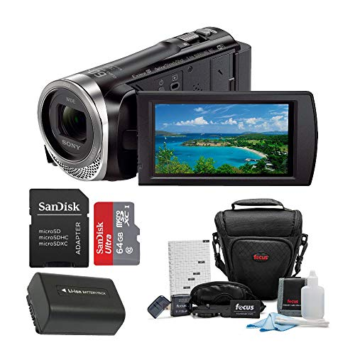 Sony HDR-CX455 Handycam Full HD 1080p Camcorder w/Lithium Ion Battery & 64 GB Micro SD Card Bundle -  ASONHDRCX455BK2