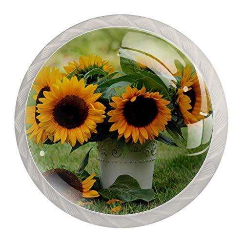 Schrankknöpfe Kinder Lebensblume Sonnenblume 4 Rund bunt Kristallglas Schrank Knöpfe Single Loch Pull Griff für Schublade, Kommode, Schrank, Tür weiß 35mm