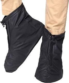 FixWhat Waterproof Motorcycle Bike Shoes Covers,Reusable Anti-Slip Rain Snow Shoes Overshoes Gear Zipped Shoes Men Women Rain Covers