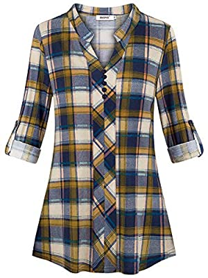 BEPEI Womens Roll-up 3/4 Long Sleeve Plaid Shirts Henley V Neck Casual Tunic Top
