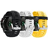 Band for Garmin Fenix 3 / Fenix 3 HR/Fenix 5X, Soft Silicone Wristband Replacement Watch Band for Garmin Fenix 3 / Fenix 3 HR/Fenix 5X Smart Watch (3Pcs,Black&White&Yellow)