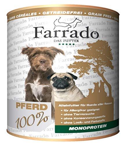 Farrado Pferd Monoprotein 6 x 800g, Getreidefreies Nassfutter für Hunde, Dose